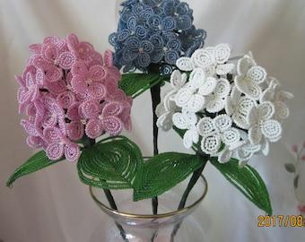 French Beaded Flowers Hydrageas