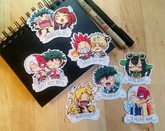 BNHA | Boku No Hero Academia Chibi Stickers Set 1 || Midoriya Izuku | Ochako | Froppy | Kaminari | Bakugou | Kirishima | Todoroki | Deku