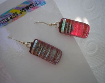 Dichroic Earrings Cranberry Ice Fused Glass Jewelry Silver Aqua Frosted Earrings .925 Sterling Dangles Iridescent Earrings Striped Earring