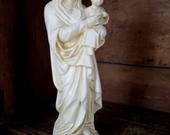 Vintage Mary & Jesus Plaster Statue