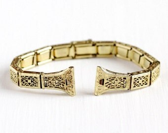 Sale - Vintage 12k Yellow Gold Filled Art Deco Watchband - Antique Flower Filigree Belt Buckle Watch Band Panel Stretch Anne Louise Jewelry