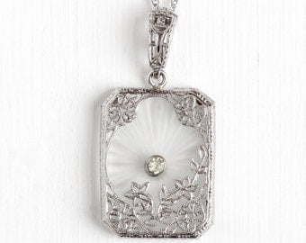 Vintage Sterling Silver Art Deco Camphor Glass & Rhinestone Necklace - Antique 1930s Frosted White Carved Glass Filigree Bridal Jewelry