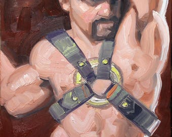 Iron Man Daddy, oil on panel  11x14 inches, by Kenney Mencher