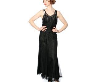 vintage 1930s sheer gown with rhinestone bodice • mesh deco era dress & slip
