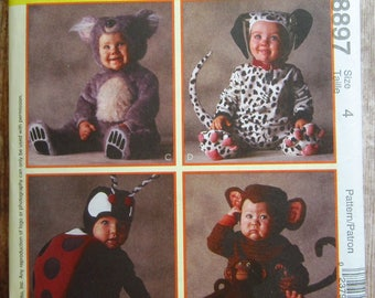 toddlers halloween costumes lady bug monkey dalmation dog and koala bear size 4 - Childrens Halloween Costume Patterns