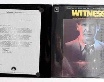 Witness Vinyl Soundtrack LP Harrison Ford - NEAR MINT