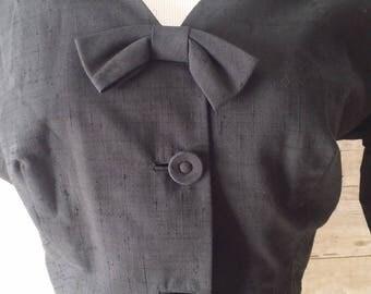 stunning 50s dress cropped bolero jacket art deco cutout neckline slub silk weave Tea Time Fashions set matching belt kick pleat