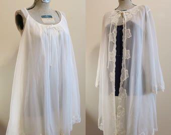 Lingerie Set Wedding Bridal white chiffon sheer sleep night gown pinup babydoll M