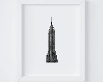 8x10 Empire State Building Print | New York City | NYC | Line Drawing