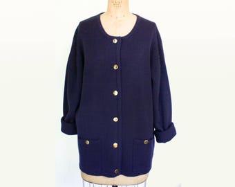 Vintage Navy Cardigan