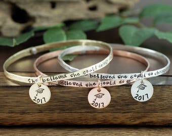 Graduation Jewelry, She Believed She Could So she Did Bangle Bracelet, Gift for Graduate, Registered Nurse, Inspirational Bangle