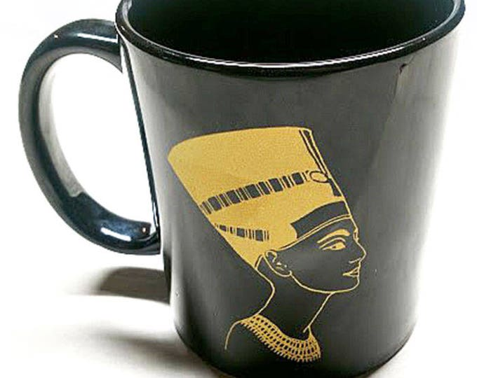 New! Nefertiti Elegant Black and Gold Ceramic Coffee Mug. Unique gift for women, co-workers, coffee, tea drinkers!