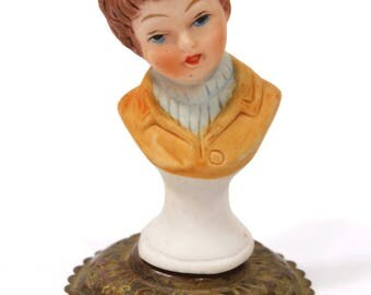 Antique Bisque Doll Bust on Pedestal, Miniature, Made in Germany, Doll House Collectible
