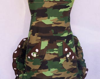 Women's Full Apron, Military Camouflage Print, With Shabby Chic Flower Pin