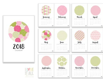 Printable 2018 Calendar, Minimalist Calendar, Pink Green Floral, Instant Download, Printable Calendar, Office Decor, Project Life Printable
