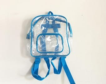 Vintage 90s Clear Backpack, Mini Backpack, PVC Backpack, Blue Trim, 90s Accessories