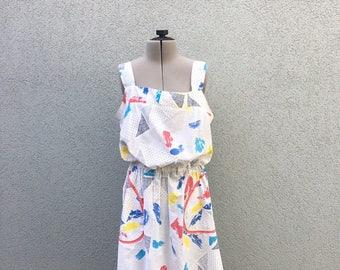 Vintage 70s Print Sundress, Summer Dress, Retro Dress, Sleeveless Dress, Size M