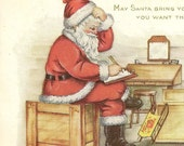 Vintage Whitney Christmas Postcard Santa Works on The Holiday Gift List in his Workshop 1919 New Sweden Station Maine Cancel