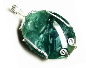 Mtorolite Necklace, Chrome Chalcedony Pendant in Sterling Silver, Emerald Green Natural Untreated Agate from Zimbabwe!