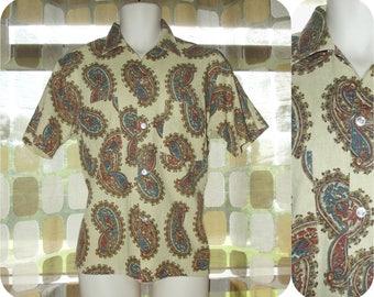 Vintage 60s Men's Linen Shirt | Flax Tan Paisley Print | Manhattan Man-Prest | 60s Mens Fashion | Tab Collar Cabana Shirt | 15- 151/2