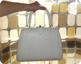 Vintage 60s Structured Handbag | 1960s Doctors Bag | Vintage Kelly Bag |  White Bowling Bag Purse | MCM Handbag