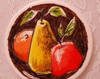 Vintage Fred Press Ceramic Trivet Mid century modern MCM 1950s pear apple fruit 6 inch round