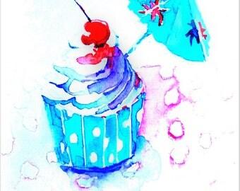 Originele aquarel.  Verjaardagskaart. Taartje. Cupcake. Handmade card.