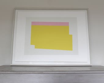 Large screenprint, abstract, minimal, bold, contemporary print in yellow and pink by Emma Lawrenson