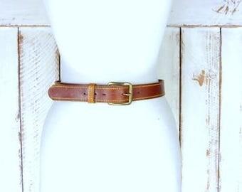 Vintage wide brown leather saddle belt/brass buckle belt/30