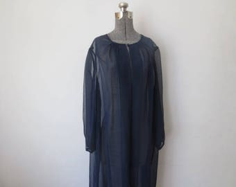 Vintage '50s/'60s Navy Blue Sheer Chiffon Peignoir / Bed Jacket, Large - XL
