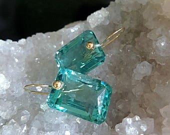 Reserved for C. 14k Solid Gold Very Rare Blue Green Topaz Emerald Cut Gemstone Drop Earrings Gift For Her