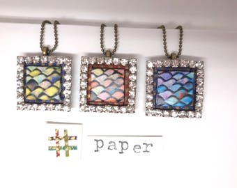 Looking good on paper! Paper Quilt Jewelry - First Anniversary - Origami Style Pendant - Mixed Media Jewelry - Unique Finds