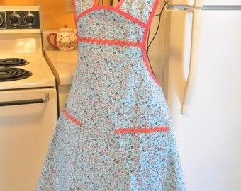 Old Fashioned Women's Full Apron in Teal and Coral