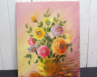 Zinnia Flower Canvas Oil Painting Bright Bouquet of Flowers - 16 x 20