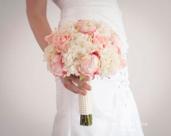 Shabby Chic Wedding Bouquet, Peony Bouquet, Blush Bouquet, Silk Bouquet, Wedding Bouquet, Bridal Bouquet, Wedding Flowers