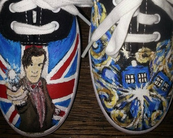 Doctor Who hand painted Shoes Matt Smith Bow Ties ORIGINAL ART Sonic Screwdriver Keds Converse Time Lord DW  flag tardis darlek