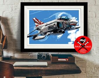 "AIRPLANE - SALE! 18""X24"" - F4 Phantom - Airplane Decor, Art Print, Air Force, Military Gift, Aviation, Pilot gift"