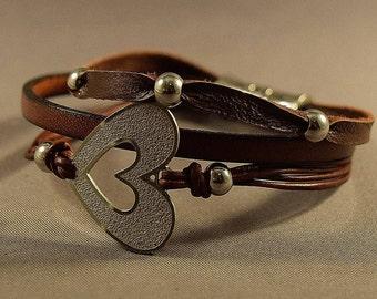 Leather Bracelet-Charm Bracelet-Wrap Bracelet-Beaded Bracelet-Women Bracelet-Gift For Her-Friendship Bracelet-Friendship Gift-Heart Charm