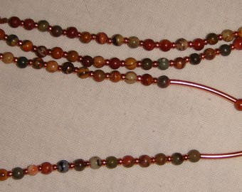 Eye Glass Lanyard made from Jasper Beads and Copper Accents