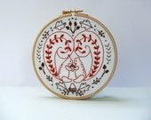 Folk art embroidery kit. Modern Scandinavian. Squirrel embroidery pattern. Fall harvest decor. Hoop art. Gift ideas. DIY craft kit