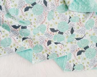 Perch floral baby blanket, minky baby blanket, faux fur baby blanket, floral nursery, floral crib bedding, baby girl blanket,