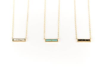 White Howlite, Turquoise, or Black Bar Necklace // Geometric Jewelry // Stone Jewelry // Layering Necklace // Choker