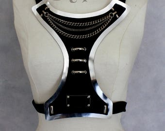 Silver and black leather with silver hardware fantasy breastplate bustier with elastic ribbon end for party costume part unique woman size