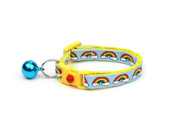 Rainbow Cat Collar - Rainbows and Clouds on Blue -Small Cat / Kitten Size or  Large Size Collar