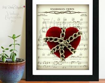 Grateful Dead, Unbroken Chain, on Music Song Sheet, Print