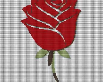 CROCHET graph with instructions PATTERN, red rose for afghan