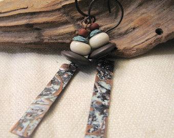embossed copper dangle earrings