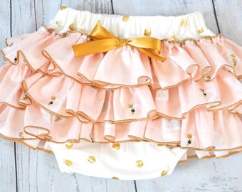 Gold and Pink Swan Print All Around Ruffle Diaper Cover / Ruffle Diaper Cover