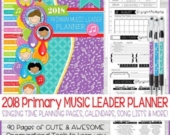 2018 Primary Music Leader PLANNER, Singing Time Helps, Chorister Planner, LDS Primary Theme I am a Child of God - Printable Instant Download