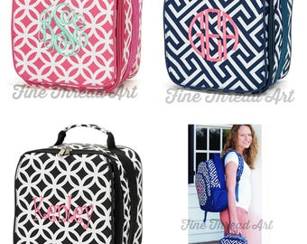 Lunch Bag with Monogram for Back to School Pink Navy Circles Black Greek Key Lunch Box Zippered Insulated